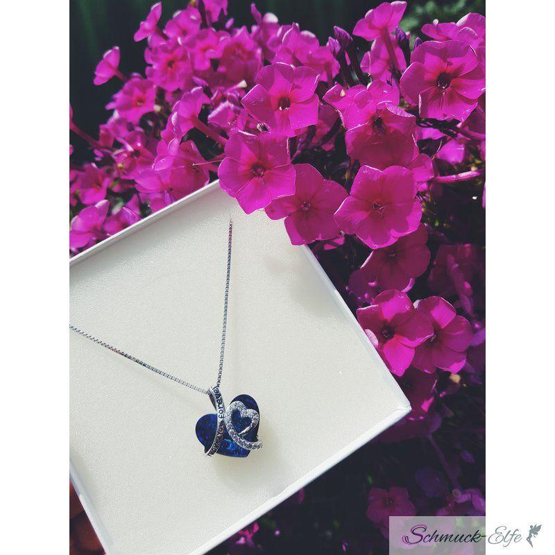 Halskette I Love You Herz Anhänger Zirkonia 925 Silber Rhodiniert