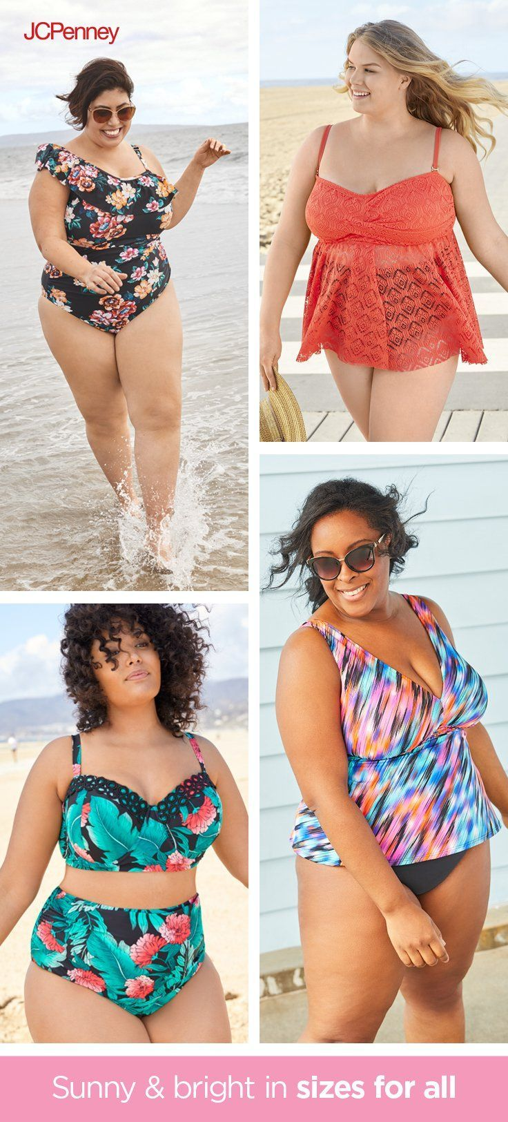 c0f3215e3a7f Choose from one-piece swimwear with ruffles and flower patterns to boho  tankinis that are as flattering as they are cute. Plus-size ...