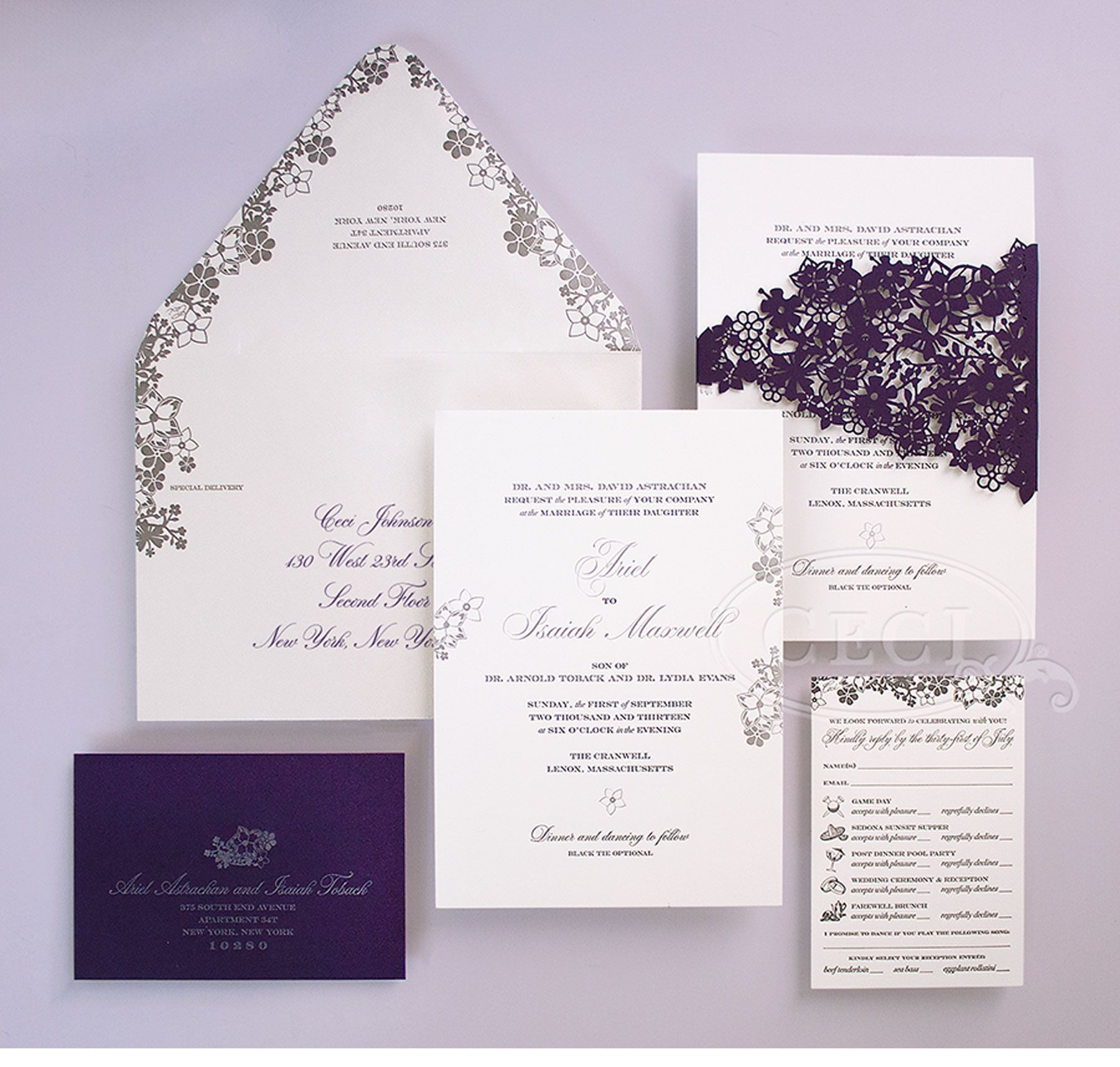luxury wedding invitations by ceci new york our muse perfectly purple wedding be - Purple And Silver Wedding Invitations