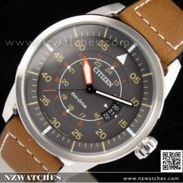 Citizen Eco-Drive Aviator Leather Strap Mens Watch AW1360-12H ... 26c2d75eff1a