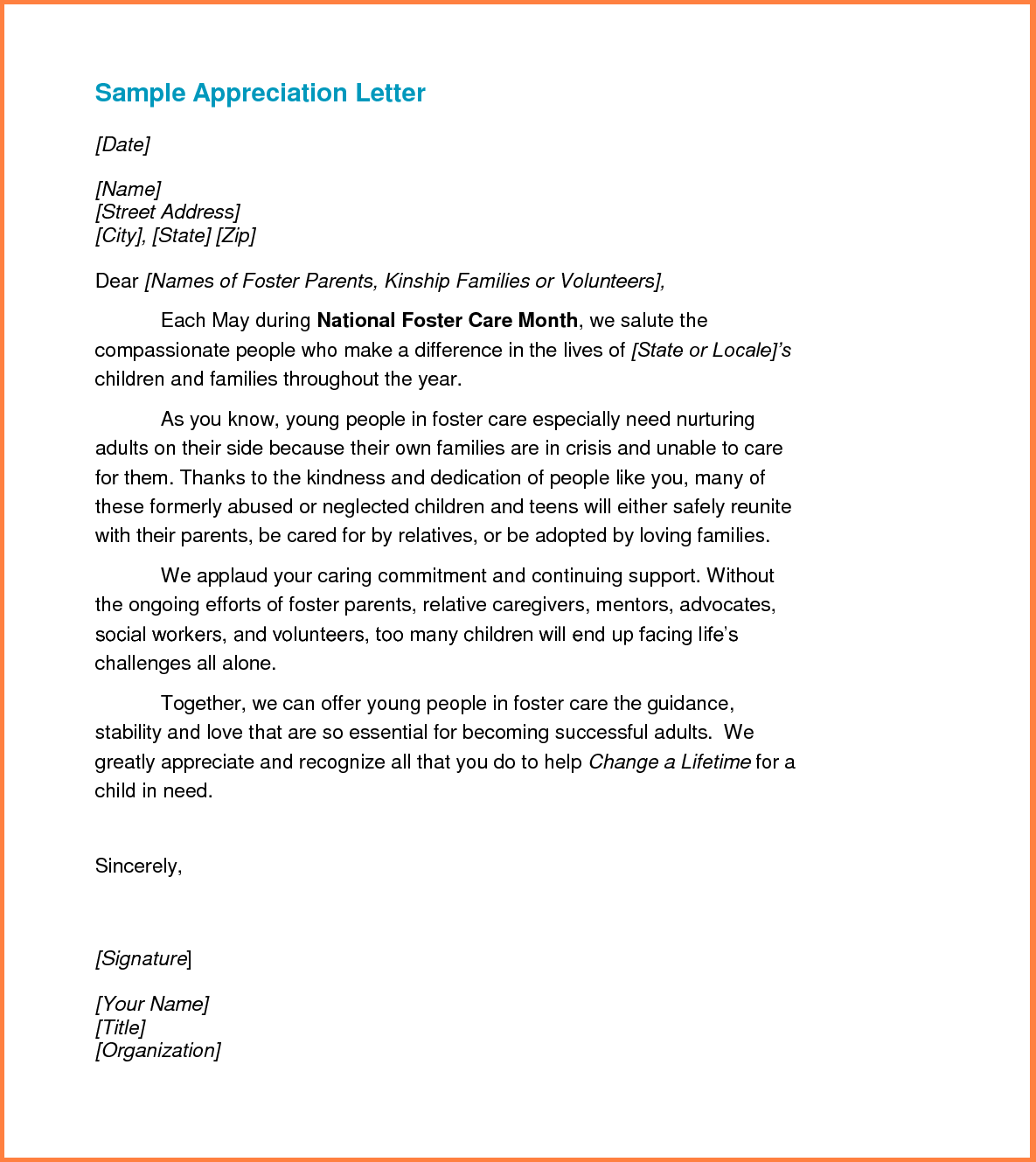 letters of appreciation templates