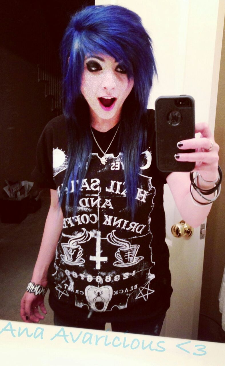 Blue dyed scene hair pretty emo cute girls pinterest scene
