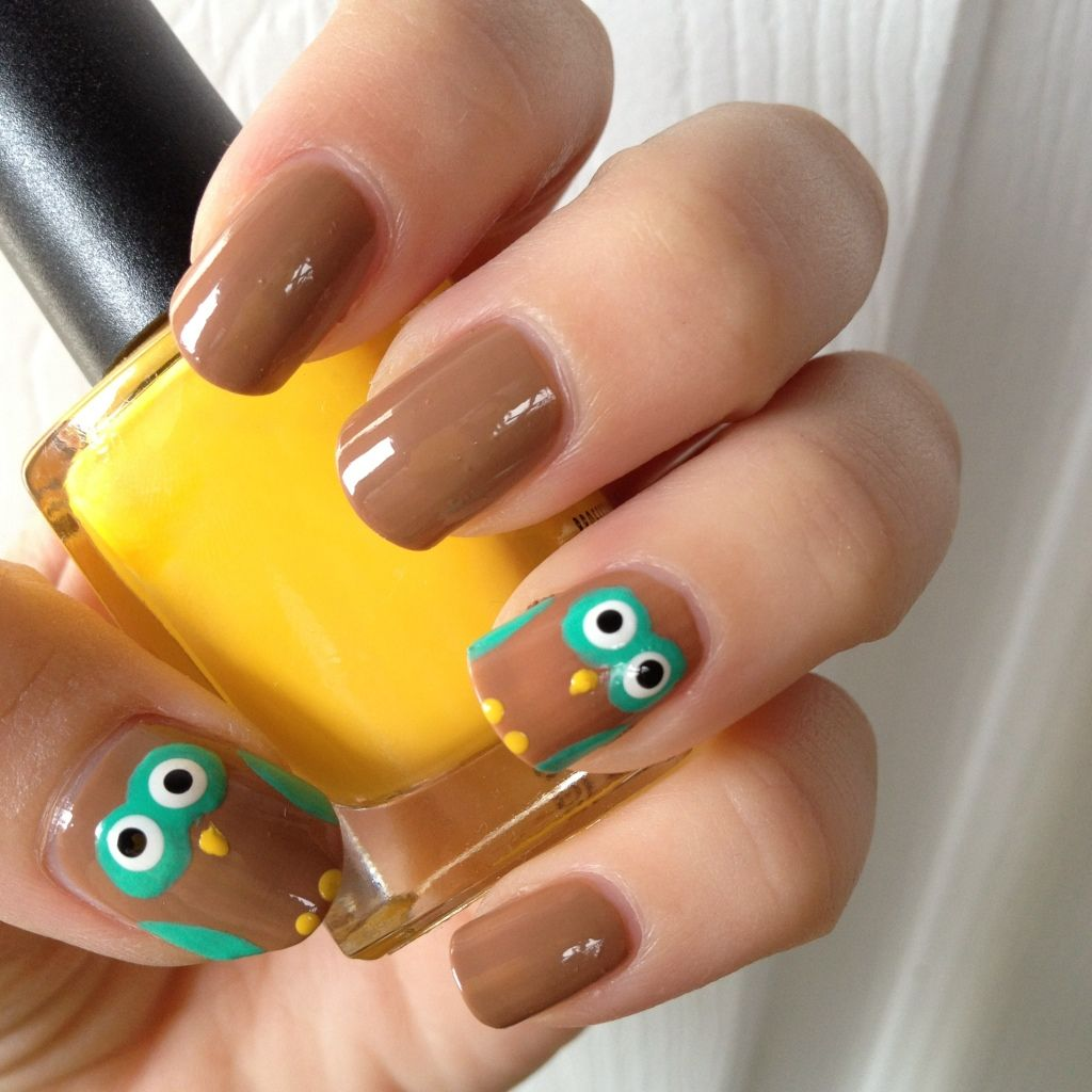 Owl Nail Art Tutorial   Owl nail art, Owl nails and Art tutorials