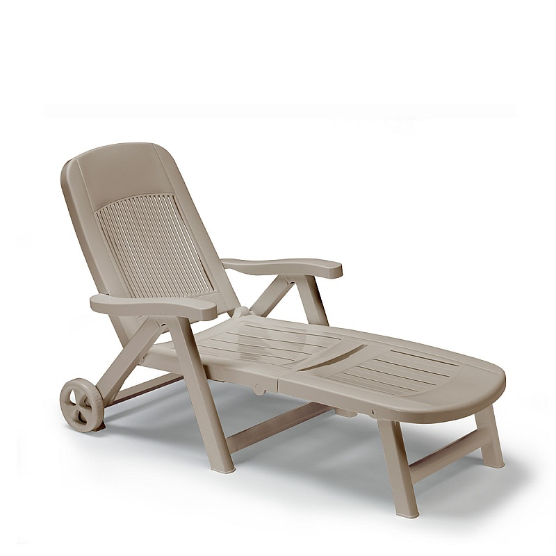 Italian plastic sun lounger on wheels in Dove Grey colour