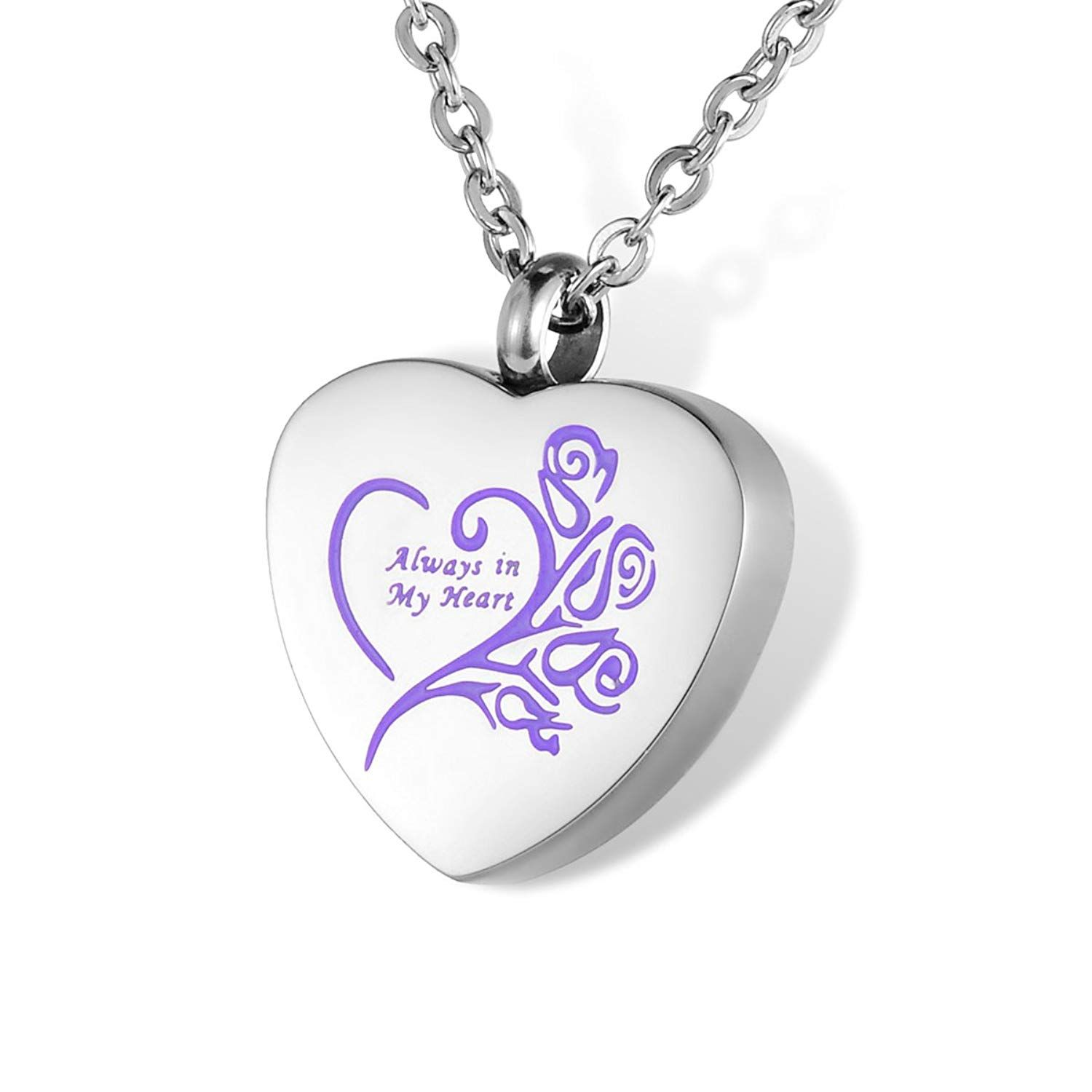 Cremation Urn Jewelry for Ashes Engraved Always in My Heart