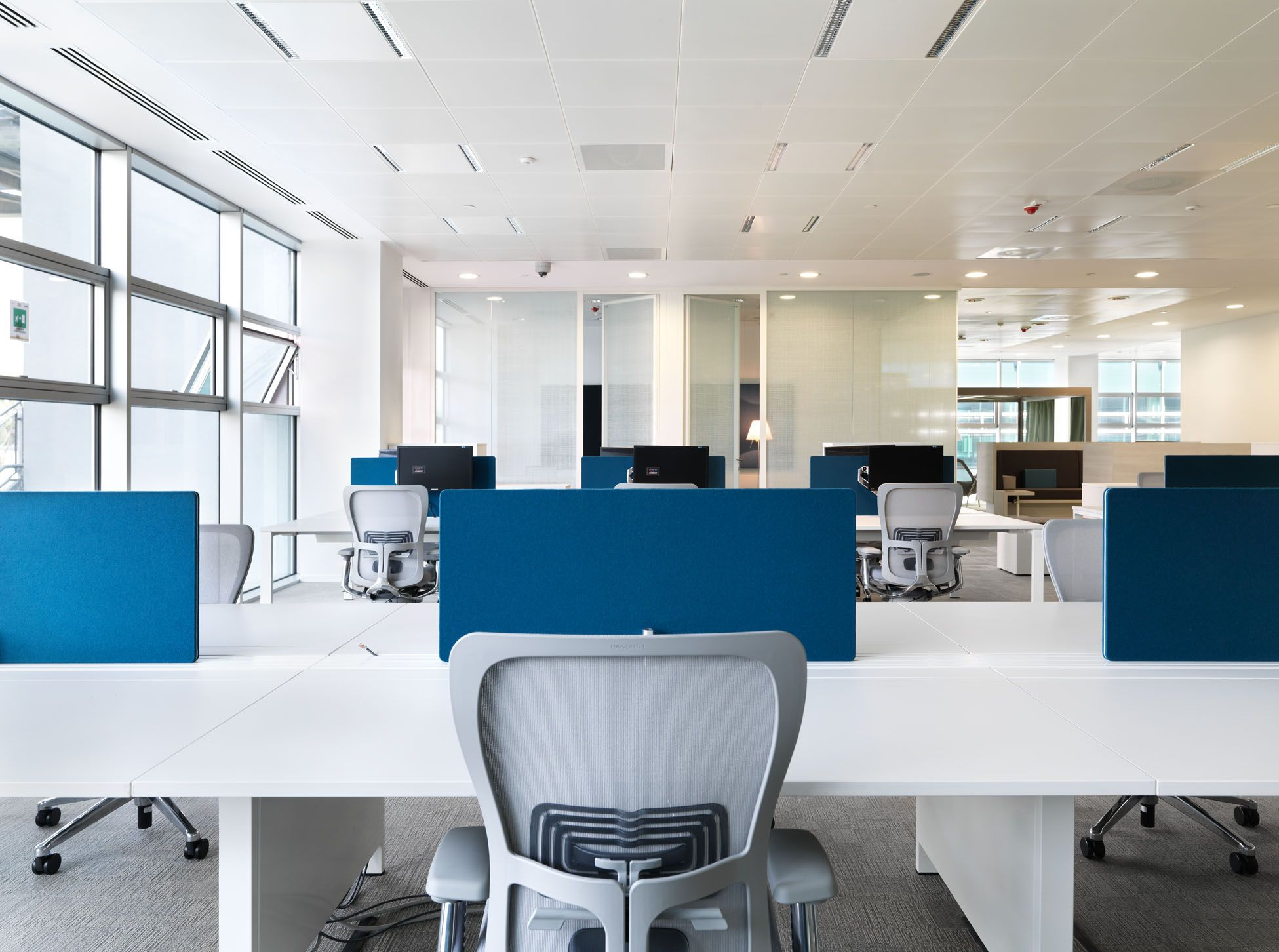 Kvadrat Textiles And Clouds Have Been Specified Throughout Microsoft S Italian Headquarters Innovation Commercial Office Design Workspace Design Office Design