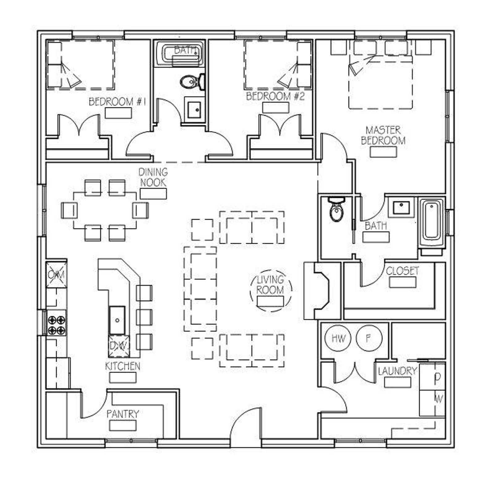 The Hideaway Cottage (40'x40') Cottage floor plans