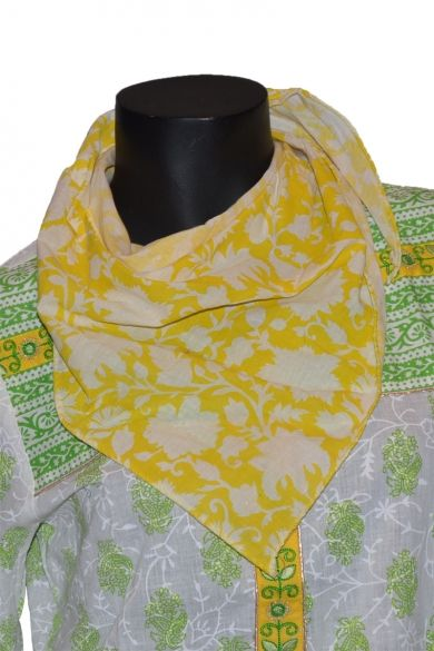 Dark Jonquil Yellow and Off-white Cotton Casual and Party Scarf Sku Code:12-4548SRS609339 $ 15.00