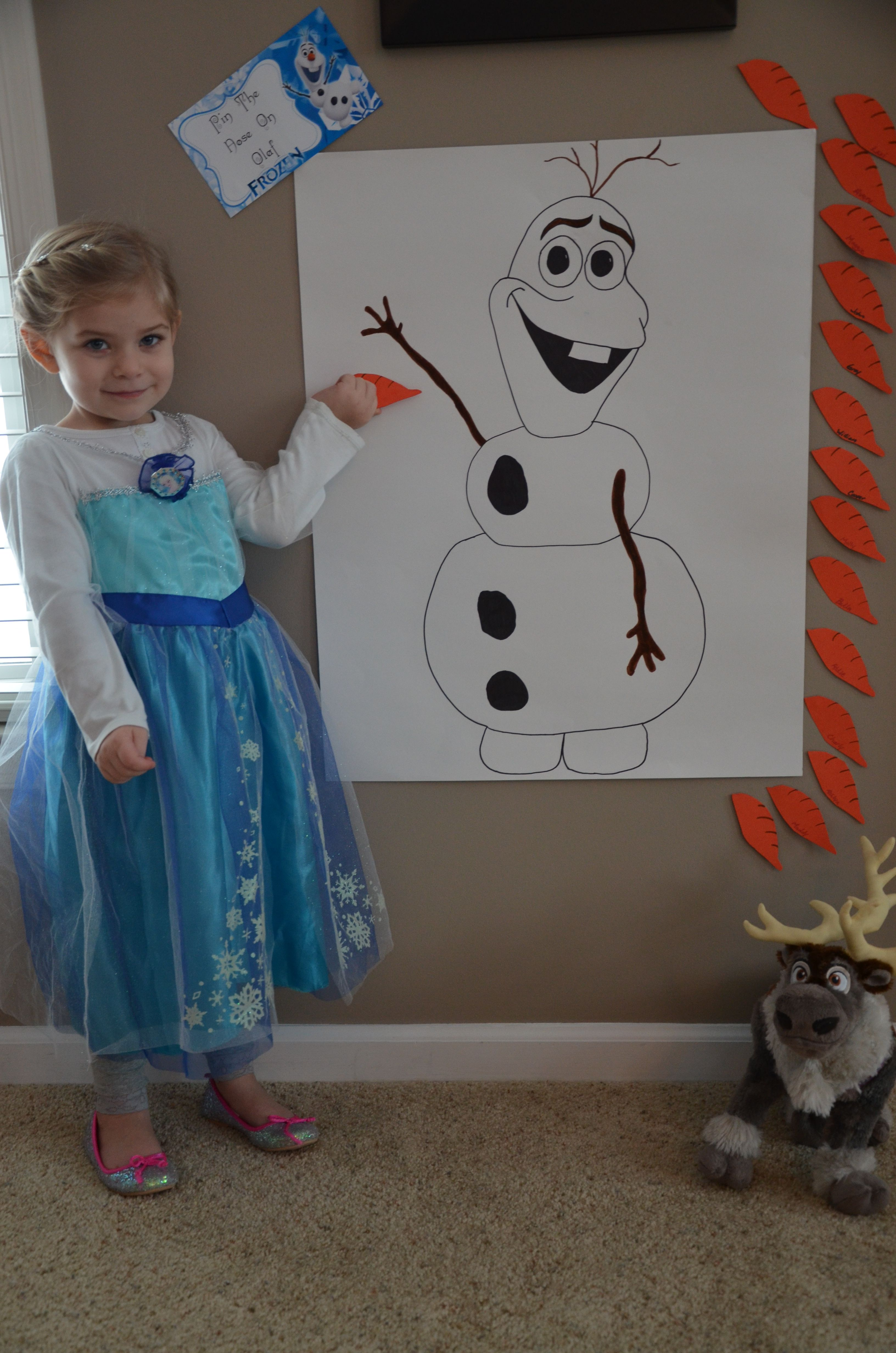 Pin the nose on Olaf Frozen theme party Frozen birthday party Disney frozen birthday party