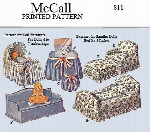 Vintage McCall 811 - Pattern to make doll furniture for dolls 4 to 7 inches high, bassinet, bed, chairs, etc -PDF