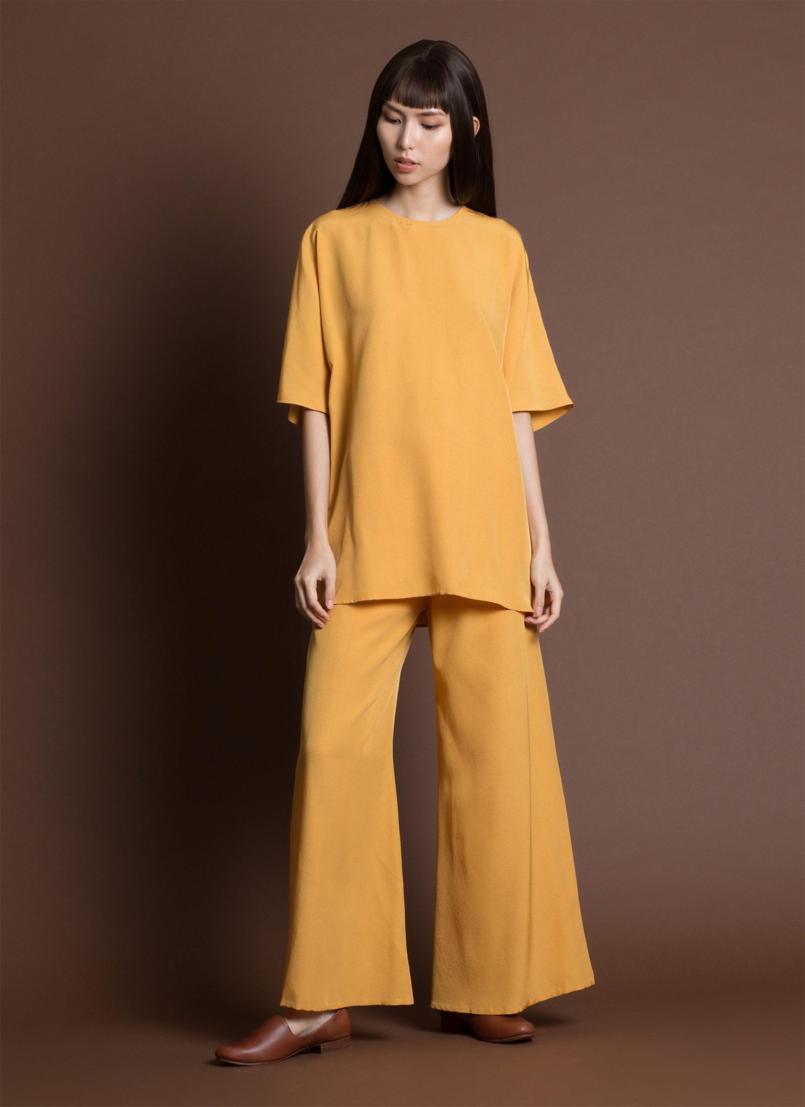 c41076b00 Song Tu Wide Leg Silk Pants - Persimmon Yellow in 2019 | KAAREM New ...