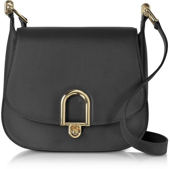 9e31fce9 Michael Kors Delfina Large Black Leather Saddle Bag   Handbag ...