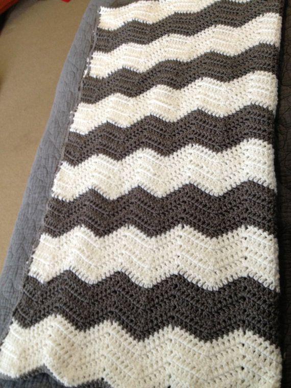 Chevron Crochet Baby Blanket ready to ship by HomemadeByBobbi ...