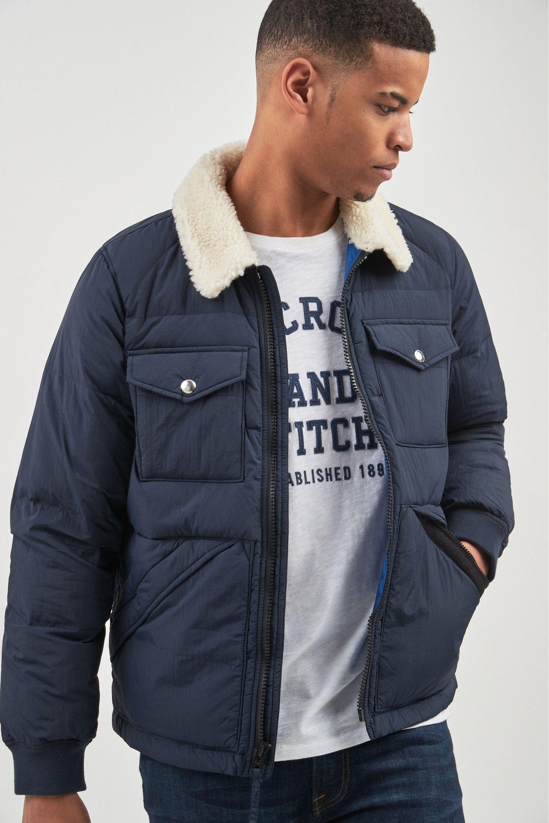 Mens Abercrombie Fitch Navy Sherpa Jacket Blue Sherpa Jacket Abercrombie And Fitch Jackets Mens Winter Coat [ 2700 x 1800 Pixel ]