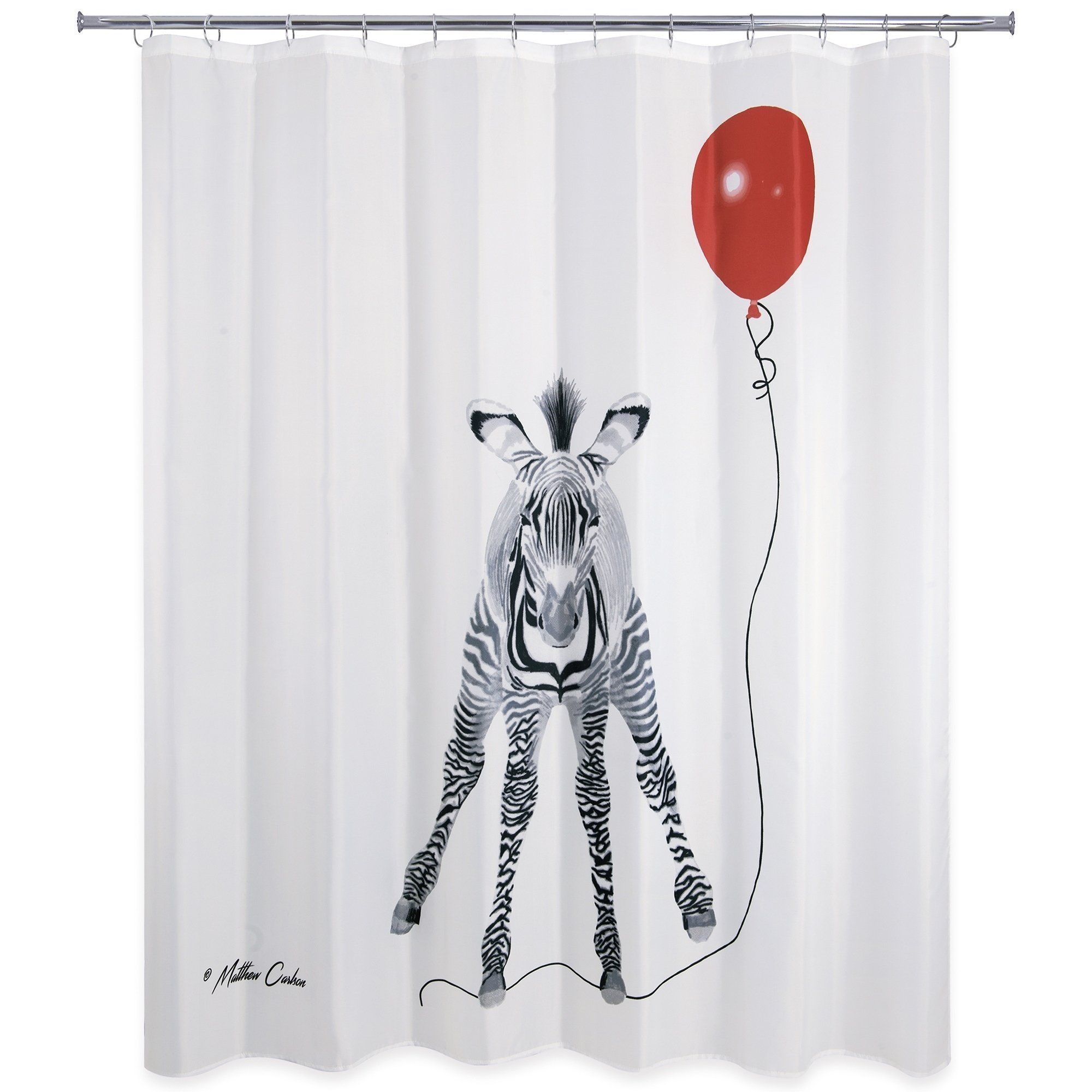 Zebra With Balloon Shower Curtain Red Cool Shower Curtains