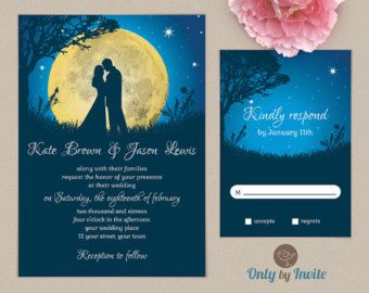 Starry Night Wedding Invitation Printable | Summer Moon Night Invitation |  Dark Blue And Yellow Wedding DIY | Bride And Groom Kissing