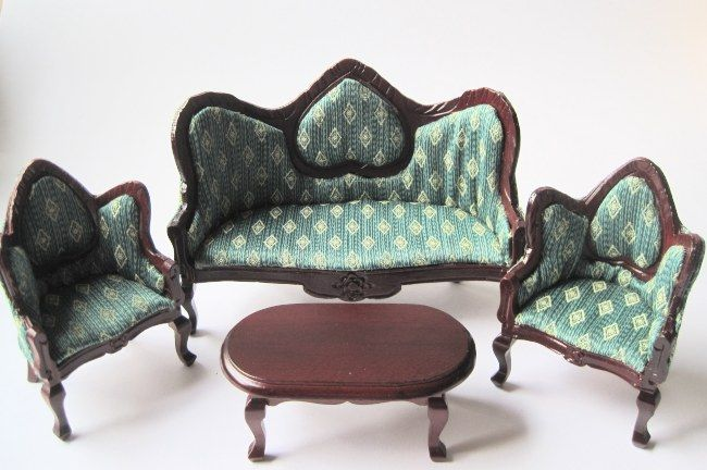 Puppenhaus Couchgarnitur Sofa, Sessel, Tisch grün Möbel Wohnzimmer - barbie wohnzimmer möbel