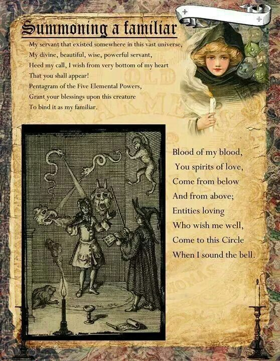 Book of Shadows: #BOS Summoning a Familiar page.- Pinned by The Mystic's Emporium on Etsy