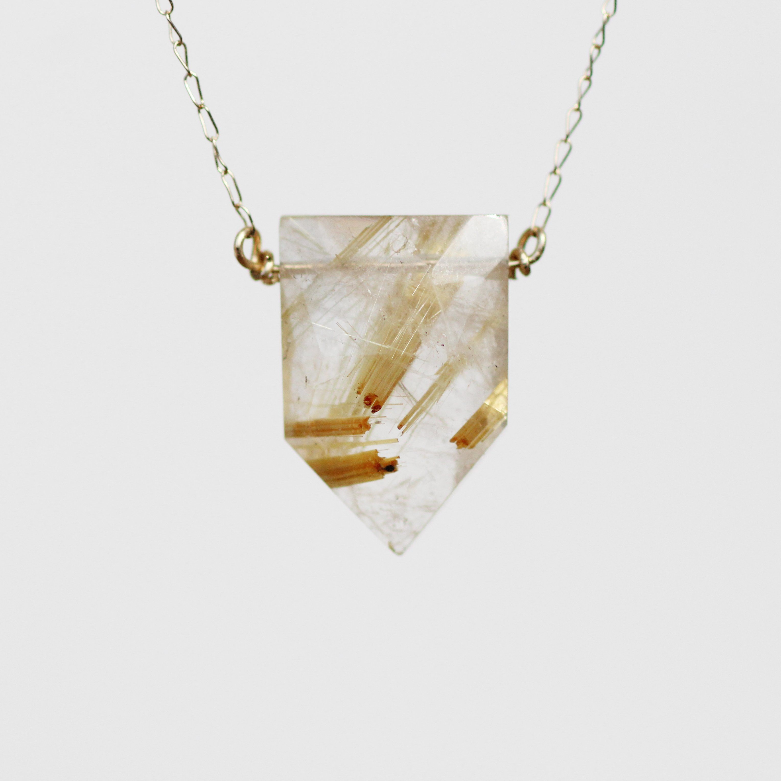 Pick Your Gold Quartz Golden Rutilated Quartz Point Necklace In 14k Yellow Gold Midwinter C Quartz Point Necklace Rutilated Quartz Rutilated Quartz Jewelry