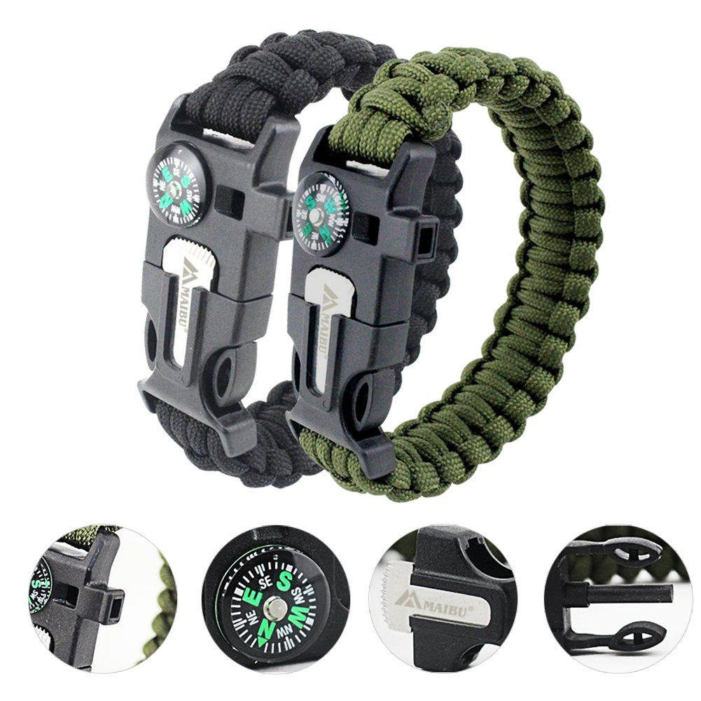 Maibu Multifunctional Paracord Bracelet Survival Gear Kit With