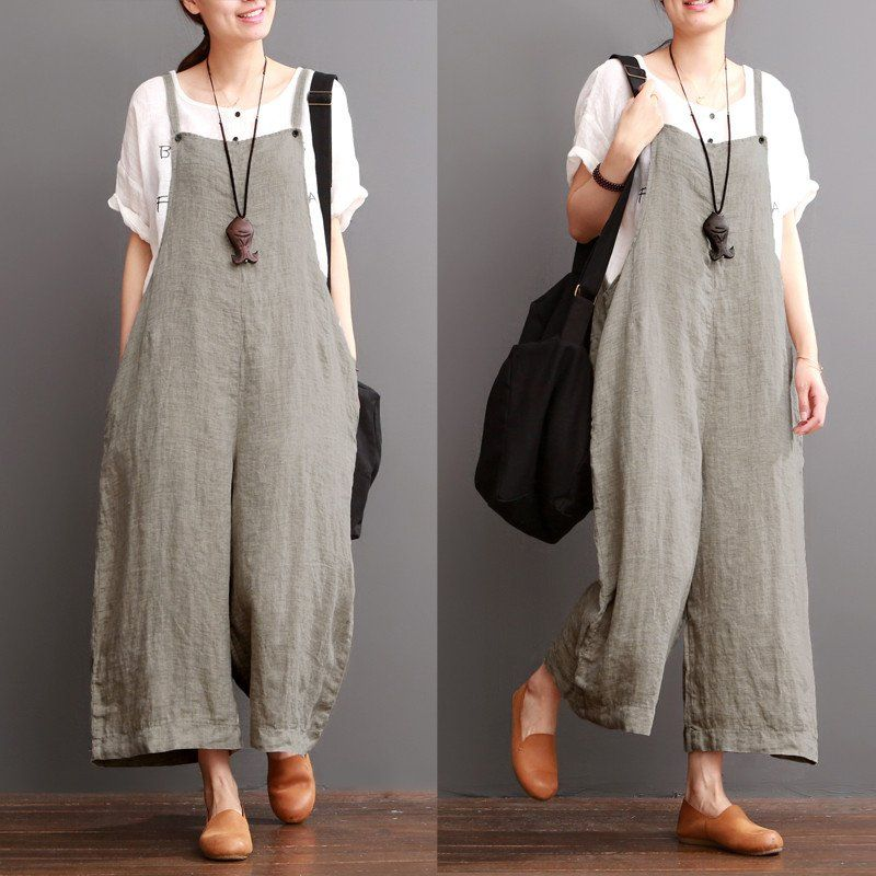 Cotton linen sen department causel loose overalls big