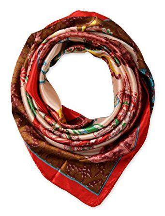 corciova Women's Fashion Pattern Large Square Satin Headscarf Headdress 90cm Red $9.99 Free Shipping