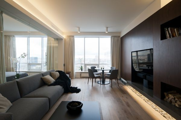 An Ultra Modern Moscow Apartment With A Glass Wall Between Bedroom