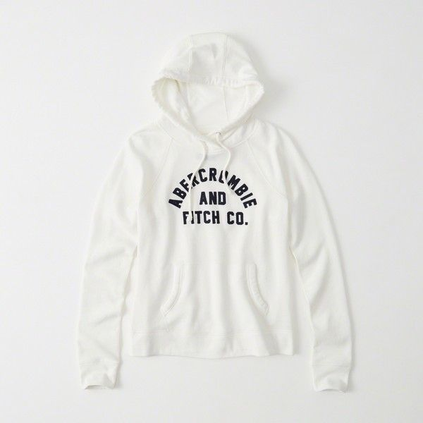 67ec171c Abercrombie & Fitch Heritage Logo Hoodie ($58) ❤ liked on Polyvore  featuring tops, hoodies, white, white top, white hoodie, white hooded  sweatshirt, ...