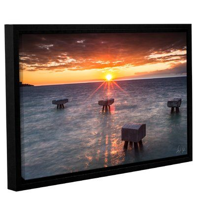 "Andover Mills Lake Erie Pier Sunset Framed Photographic Print Size: 32"" H x 48"" W x 2"" D"