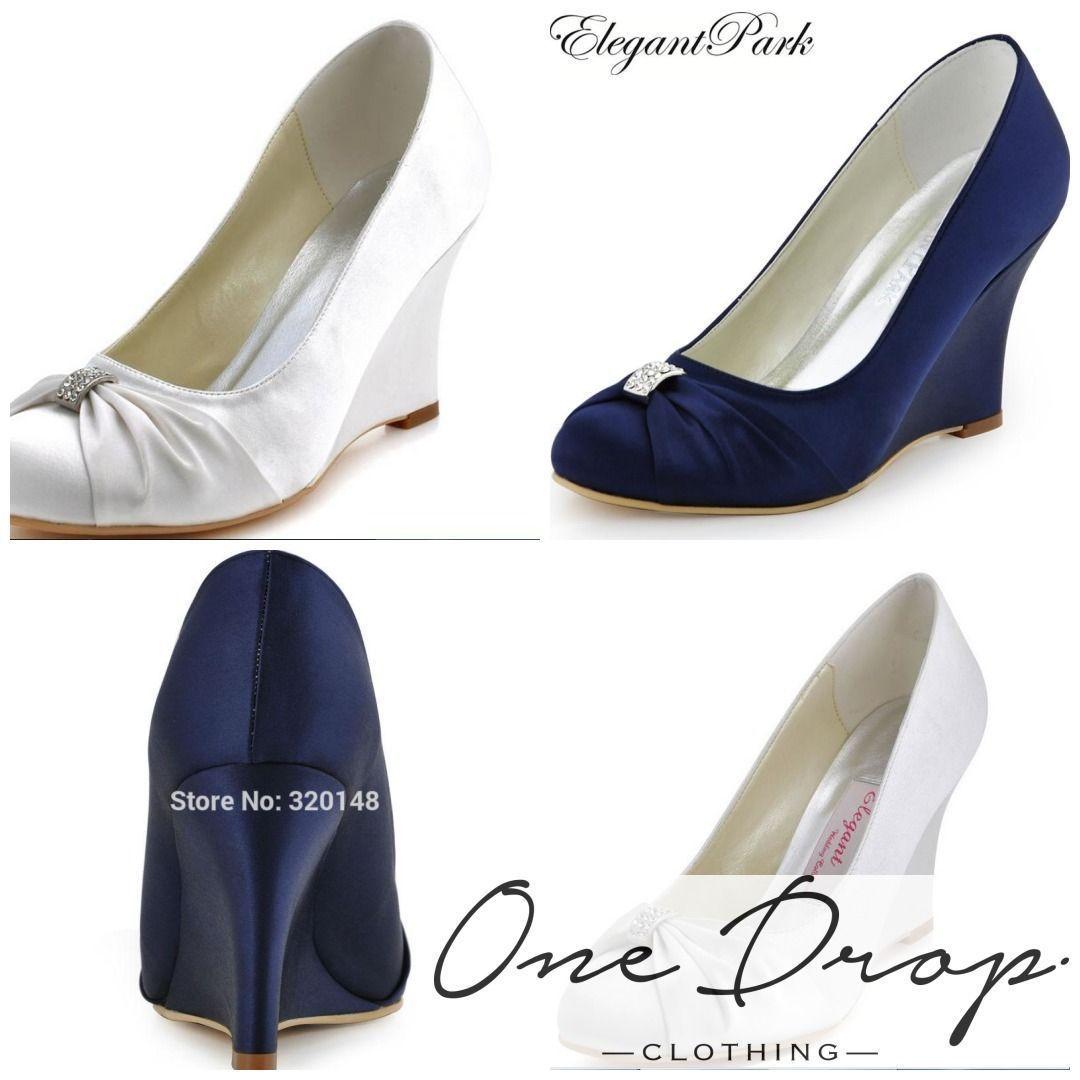b9f3cf6794c785 Women Wedges High Heel Wedding Bridal Shoes Navy Blue Rhinestone Closed Toe  Satin Bride lady Prom