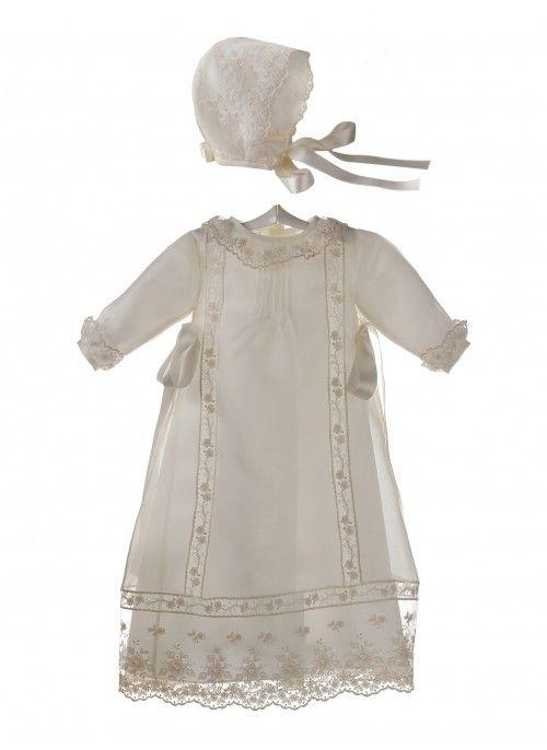 d2cadc8c8 Faldón y capota para bebé de organza de seda y encaje de tul para bautizo y  ceremonia