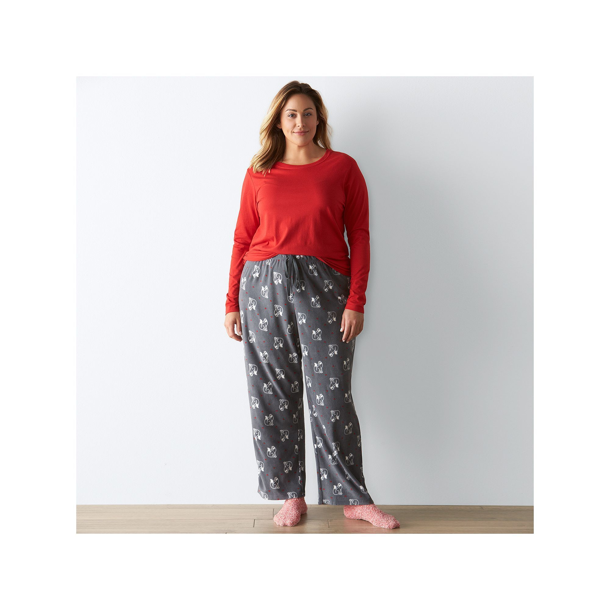 Plus Size SONOMA Goods for Life™ Pajamas: Knit & Microfleece PJ Set with Socks, Black