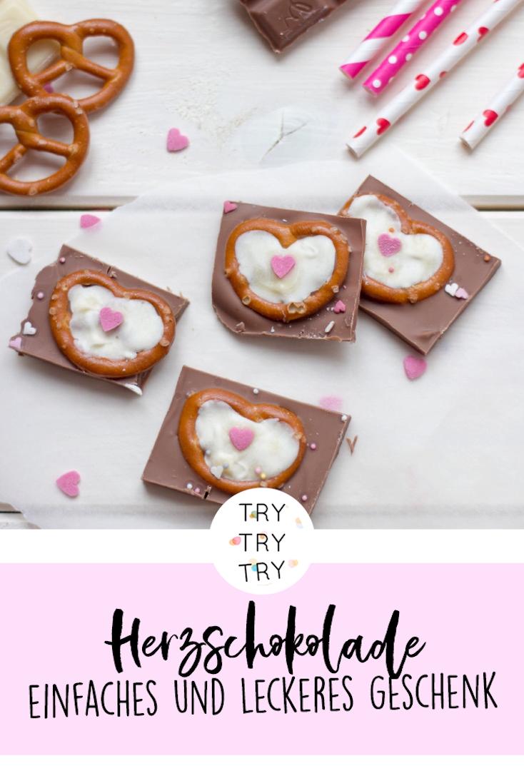 Herz-Schokolade - Geschenk zum Valentinstag #selbstgemachtegeschenke