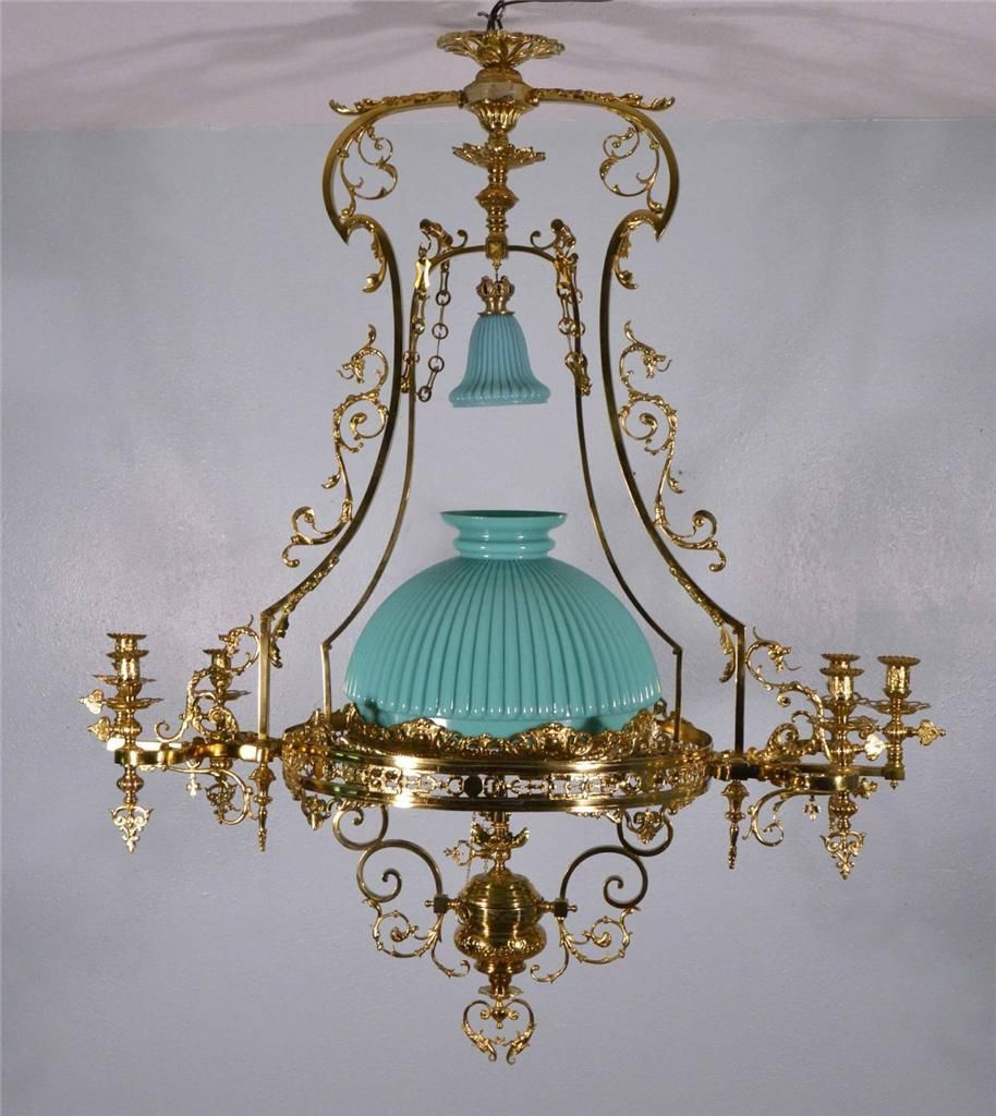 Large french antique bronze gas chandelier gasolier hanging lamp bronze antique chandeliers fixtures sconces ebay arubaitofo Image collections