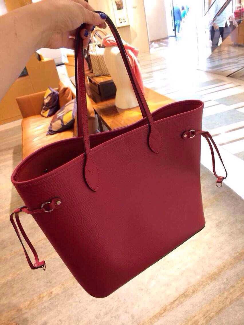 99c9155ac AUTHENTIC LOUIS VUITTON EPI LEATHER NEVERFULL MM BAG M40954 RED ...