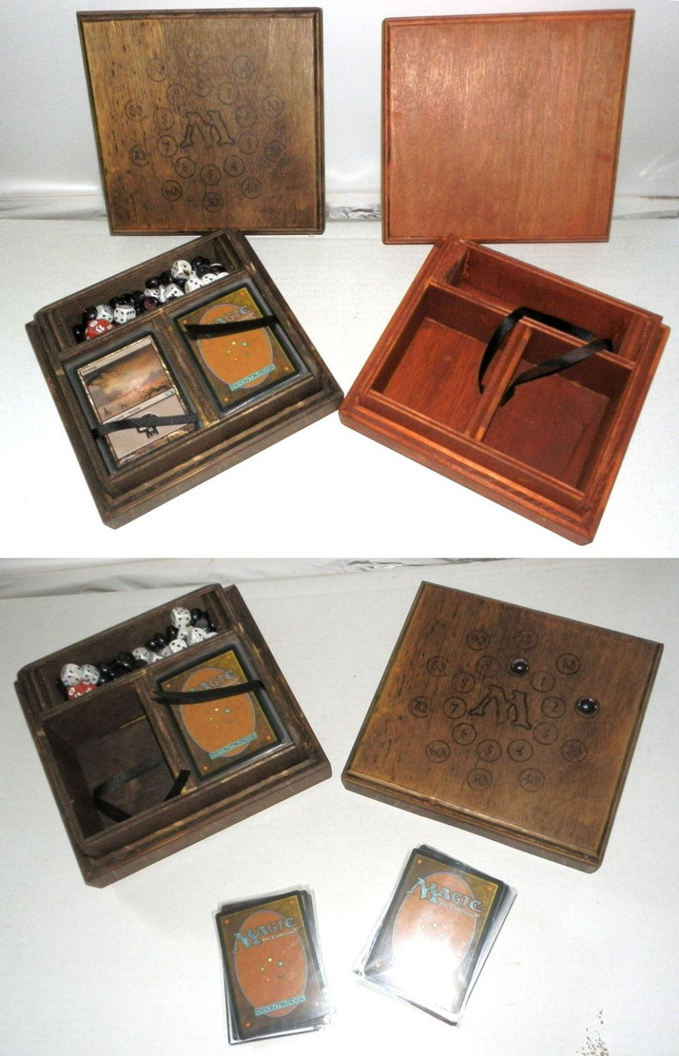 Wood Dual Deck Carrying Case With Life Counter Holds 2