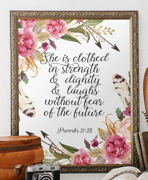 Nursery bible verse print decor she is by for Bible verse decor