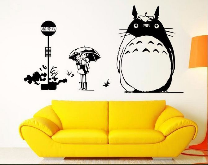 Hot Sell Under the Lamp Totoro Wall Sticker Children Bedroom Living ...