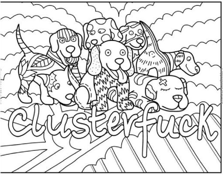Adults Coloring Book Swear Dogs Designs Color Stress Relief Therapy - best of coloring pages for adults dogs