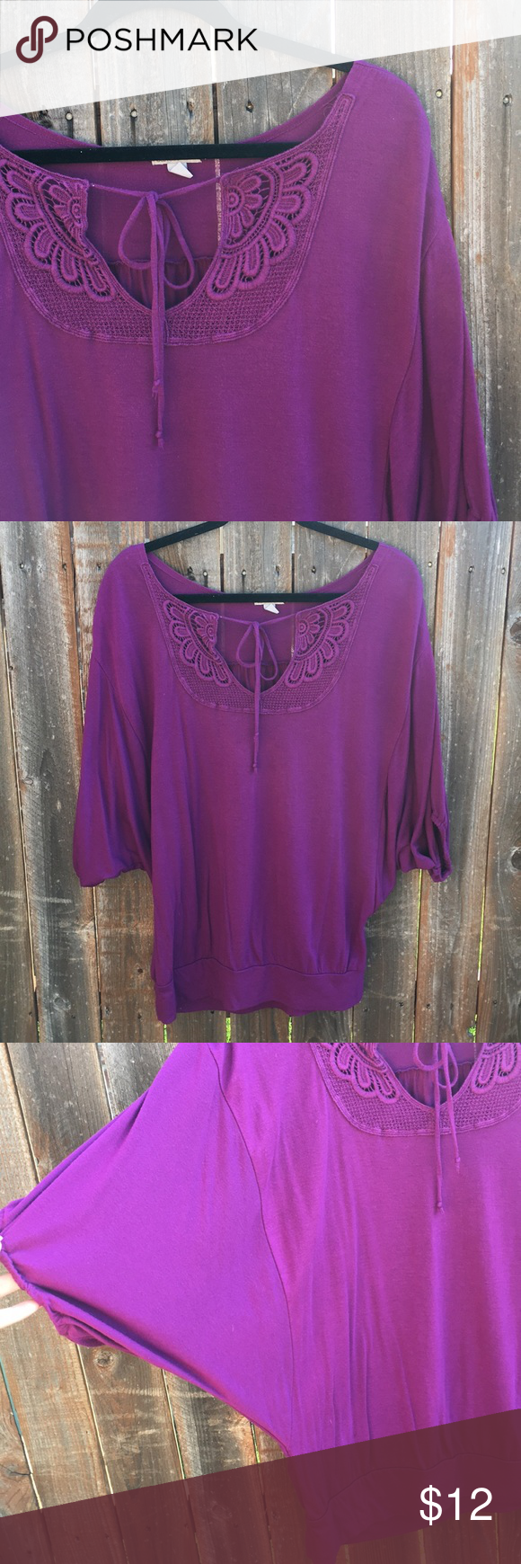 • [old navy] plum butterfly sleeve top • Pretty plum colored flowy top from Old Navy. Worn a handful of times, size medium. Pretty details at the neck, the tie can either be worn tied or open. Open dolman/butterfly style sleeves. Banded bottom. Super flattering. In Good used condition.   ❌NO TRADES ❌NO OFF APP PAYMENT 🚭SMOKE FREE HOME 🐶🐶 TWO PUPS  #0214 Old Navy Tops