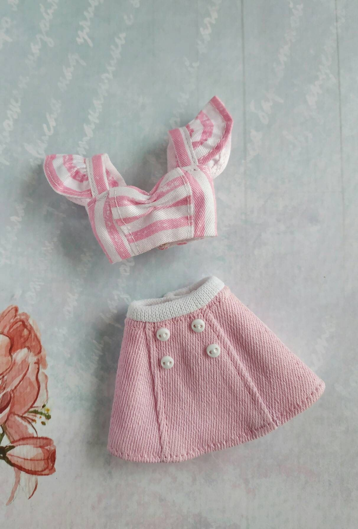 Items similar to Summer striped white pink crop top, pink denim skirt for Blythe doll, blythe clothes ithes outfit on Etsy -   14 DIY Clothes Skirt crop tops ideas