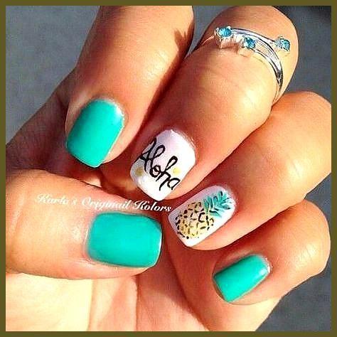 Ananas | Easy Summer Nail Art voor korte nagels # acryl nail art, # acryl nail art …