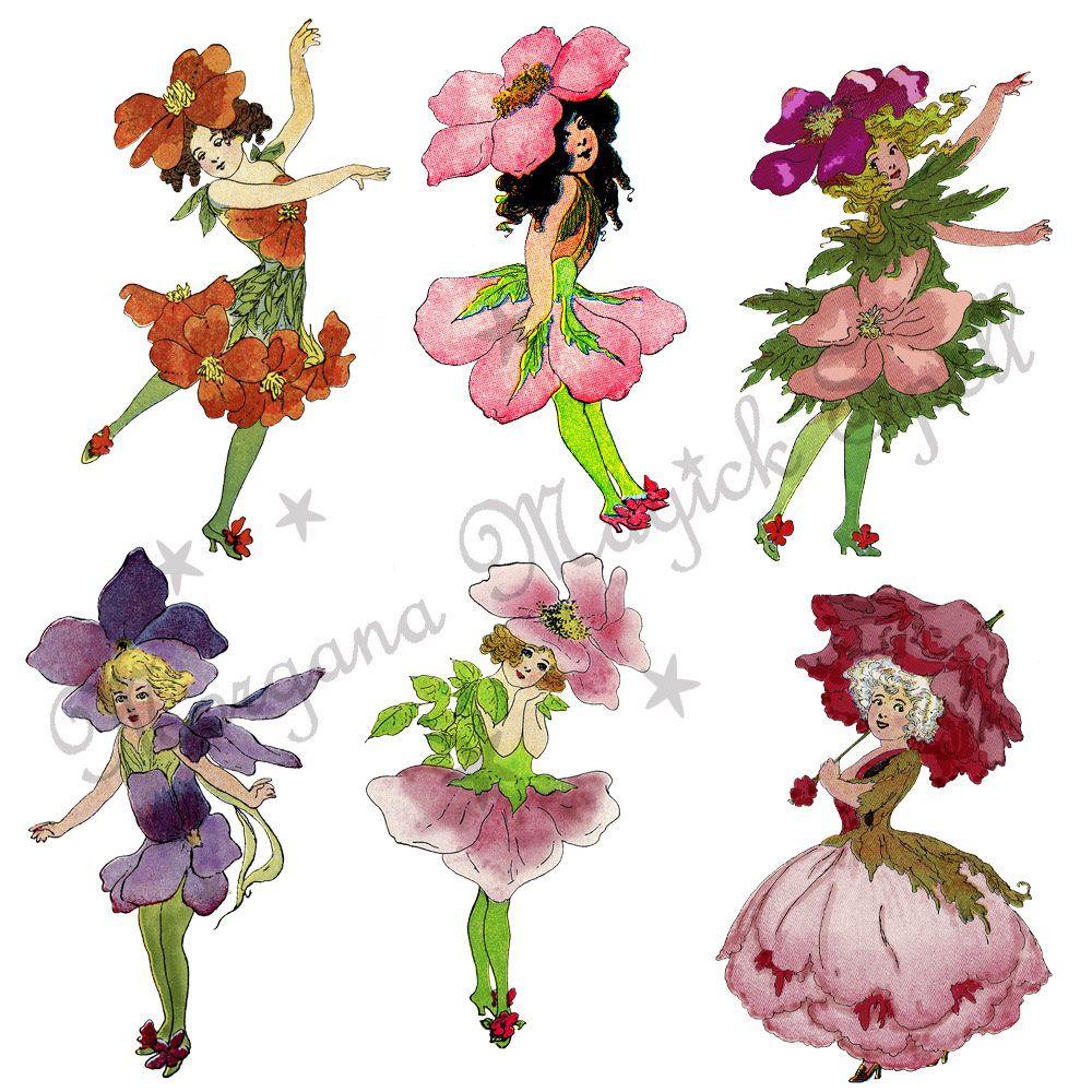 Fairy flower. Vintage fairies royalty free