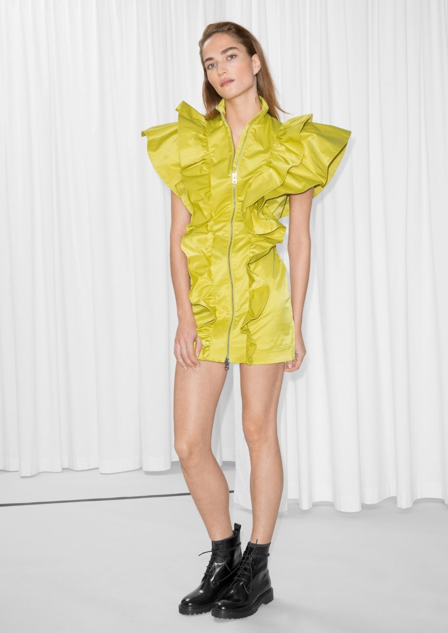 c8c3ccb8a9   Other Stories image 1 of Frill Mini Dress in Yellow