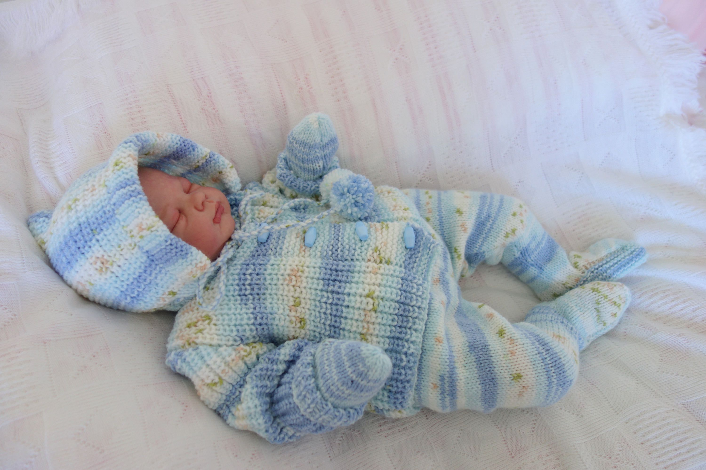 a740e90f57c1 Hand knitted vintage style baby s pram set hooded fisherman s rib ...