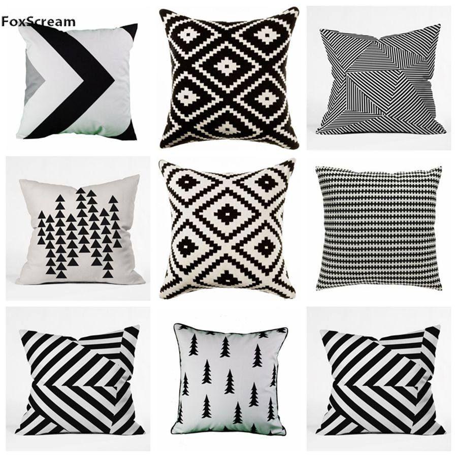 Housse De Canape Pour Mobil Home géométrique taie d'oreiller noir blanc coussins housses