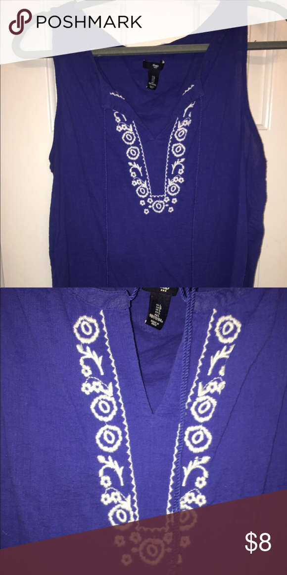 Pure blue Top with Embellishments Women's top from Gap. Pure blue with white embellishments GAP Tops Tank Tops