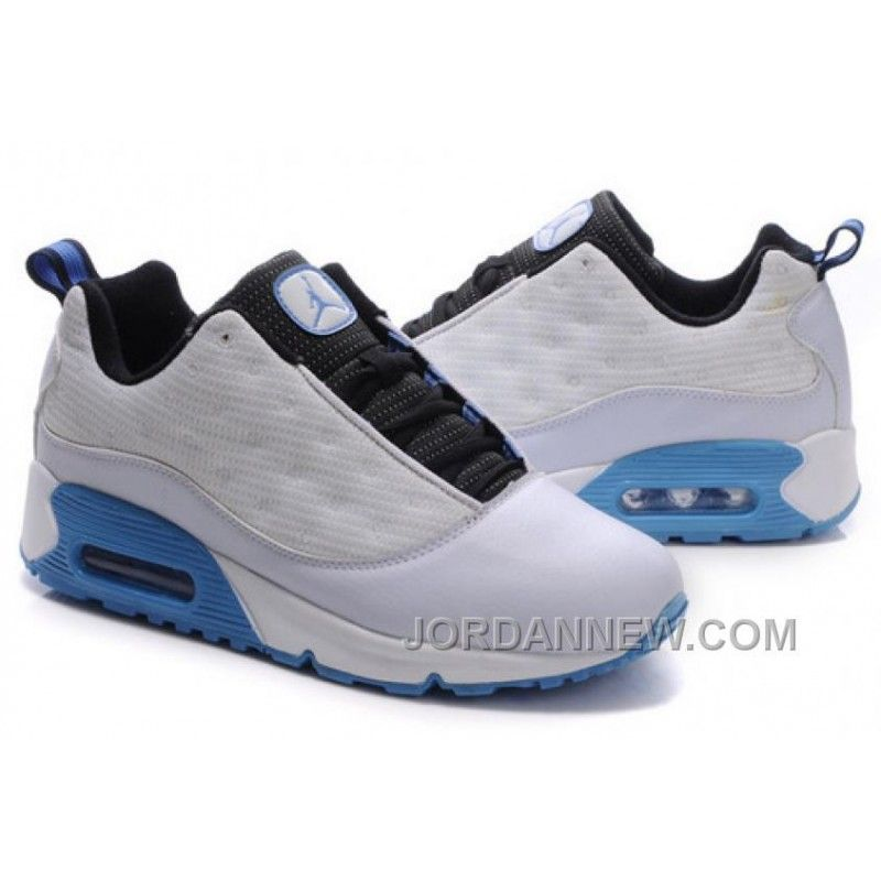 Men\u0027s Nike Air Jordan 13 Low Shoes White/Black/Light Blue Best Z4Ni8r2