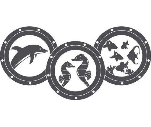 Wandtattoo Bullaugen, Delfin, Seepferdchen
