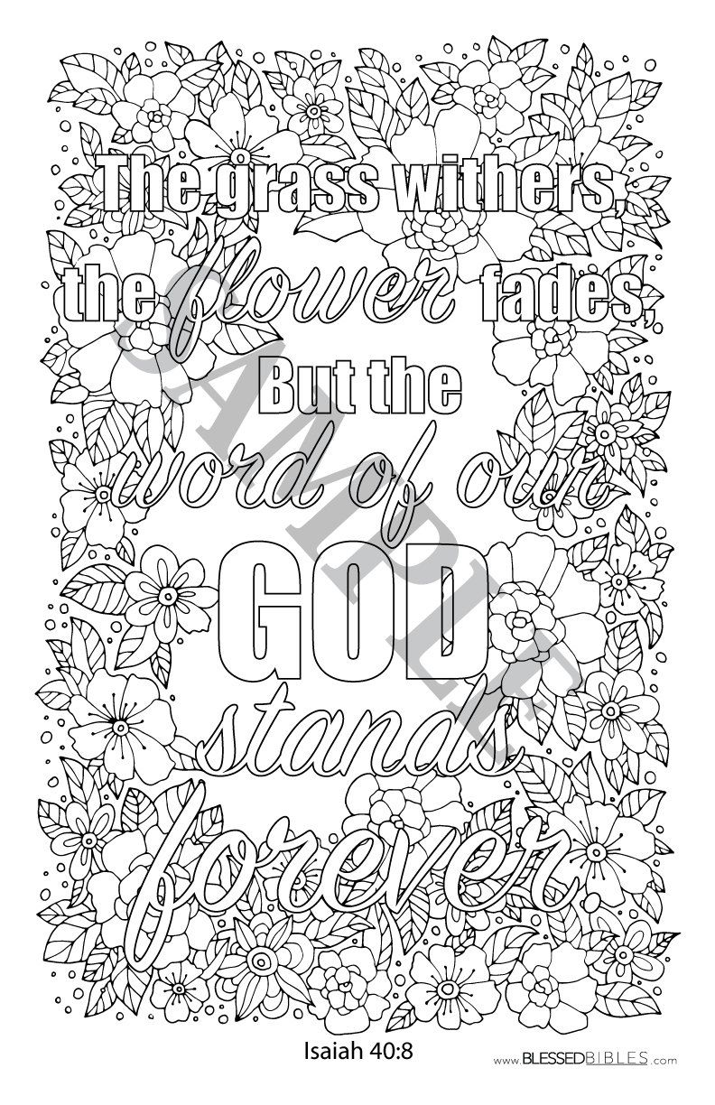 Inspirational Bible Verse Coloring Book Page Isaiah 40 8